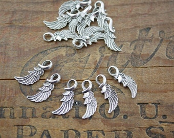 Pewter Wing Charms Double Sided Silver Bird Wing Charm Pendant Charm (10)