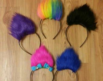Trolls headband,furr headbands, poppy headband, trolls, orange troll headband, diamond, trolls bows, furry trolls, furry troll headbands,