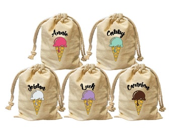 Ice cream theme birthday party favor bags. Personalize party goody bags. Custom candy treat favor bags. Ice cream cone party bags. gift bag