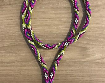 Peyote Stitch Beaded Lanyard - Vibrant Snake Print Pattern