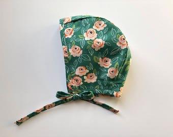 Baby Bonnet// Hat, baby hat// Green floral bonnet// Modern Bonnet// Handmade bonnet// Spring bonnet// Girl Bonnet// Homestead Avenue