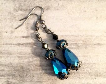 Blue Drop Earrings, Victorian Earrings, Metalic Blue Crystal Teardrop Beads, Steampunk Earrings, Gunmetal Filigree, Steam punk Earrings