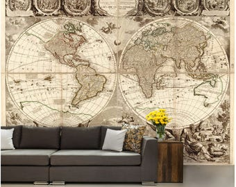 world map wall mural vinly wall mural vintage old map mural self
