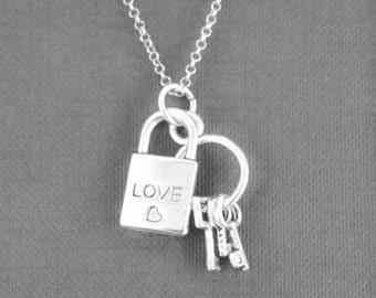 Heart Necklace, Key Necklace, Locket Necklace, Charm Necklace, Sterling Silver Necklace, love necklace, Rose Necklace