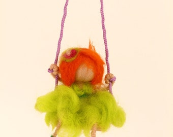 Swinging girls, needle felted dolls, Waldorf inspired.Home decor and Necklaces.