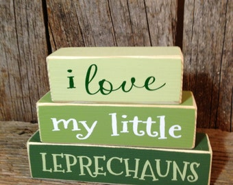 St Patricks Day blocks, st Patricks day, st Patricks decor, i love my little, little leprechauns, Leprechaun blocks, St Patricks decoration
