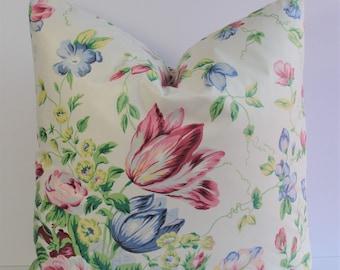 Designer Floral Rose polished cotton Decorative throw pillow - Waverly chintz scotchgard finish - rose pink blue green yellow white 16 18