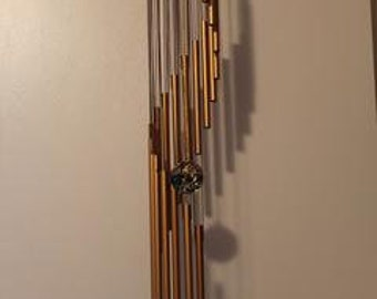 "wind chimes handmade-32"" spiral staircase, w/18 copper tubes"