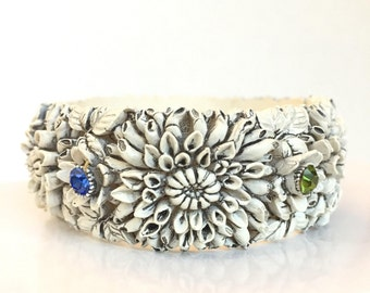 Vintage Celluloid Rhinestone Clamper Bracelet Colorful Crystal Flower Bangle Featherlite Celluloid Antique Estate Jewelry Spring Bracelet