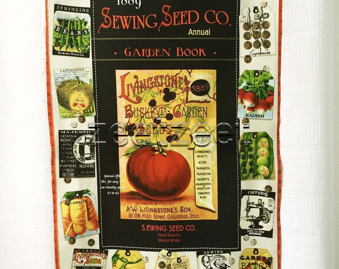 """SEWING SEEDS PANEL Cream Vintage Gardening Quilt Fabric - by the Panel - 24"""" wide by 45"""" long J. Wecker Frisch - Brilliant intense colors"""