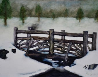 "Winter Bridge, original watercolor painting by Meike Geisler; 14.5"" x 10.75""; bridge in winter snow; grays, blues, browns and greens"