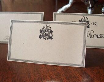 Horseshoe Equestrian Wedding Place Cards, Escort Cards, 60 Blank Kraft Personalized Horse Shoe with or without Monogram, Shamrock