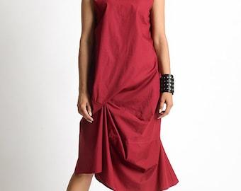 NEW Red Loose Asymmetric Dress/Open Back Tunic Dress/Extravagant High Low Dress/Red Casual Dress/Oversize Maxi Top/Cap Sleeve Maxi Dress