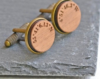 Custom Coordinates Gifts - Coordinates Cufflinks - Personalised Cufflinks - Custom Coordinates - Wooden Cufflinks - Gifts For Groom