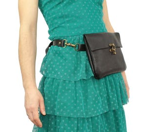 Leather fanny pack in chrometan leather BLACK - Festival fanny pack - BumBag - adjustable strap to carry as crossbody bag + swing arm latch.