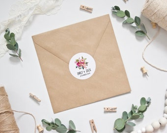 CUSTOM Stickers - Personalised Pink Watercolour Floral Wedding Envelope Stickers