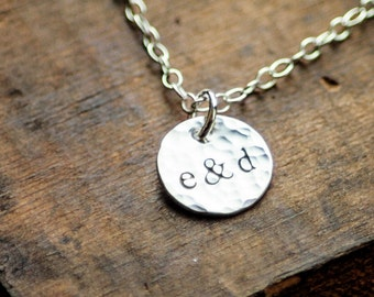 Personalized Couples Initials Necklace - Hand Stamped Sterling - Wedding Gift