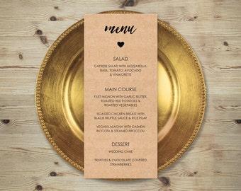 Wedding Menu Printable Editable Template, Printable Rustic Kraft Editable Menu Template, Rustic Country Wedding Party Printable Menu Card