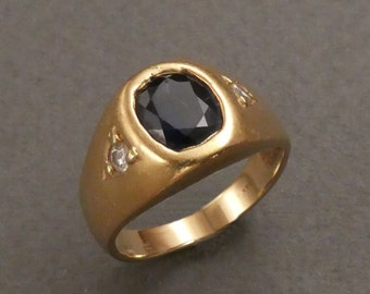 14K blue sapphire and diamonds ring size 6