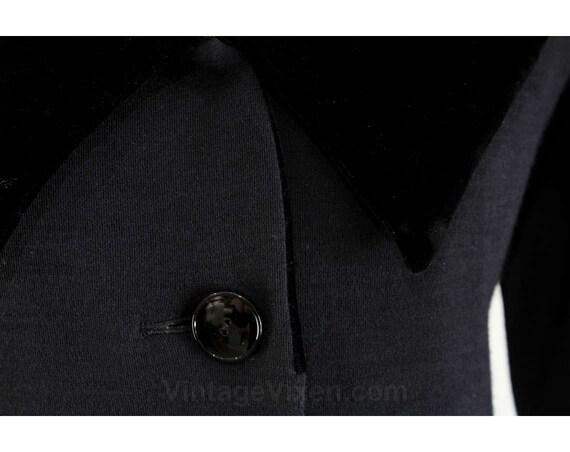 Long Designer 38 Size Winter Yves Dress Laurent YSL St 1980s 12 amp; Sleeved Black ca Dress Luxury Velvet 46529 1985 Bust Wool R70qRr