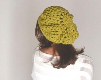 Cotton Beret Hat Crochet Summer Tam Hat Spring Snood Hat Boho Hippie Rasta Beret More Color Options
