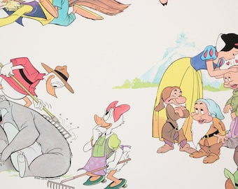 1980's Vintage Wallpaper Disney Snow White Seven Dwarfs Goofy Bambi Mickey Minnie Mouse by the Yard