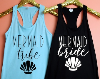 Mermaid Bride, Mermaid Tribe, Bachelorette Party Tank, Bachelorette Party Shirts, Mermaid Bachelorette, Bachelorette Shirt