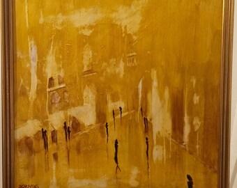 Golden Street oil painting