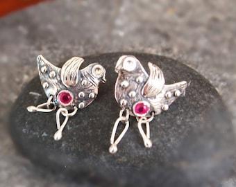 Bird Earrings, Sterling Silver Stud Slightly Oxidized
