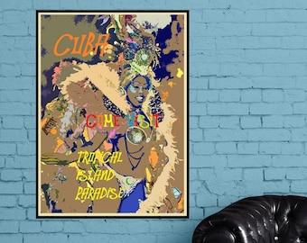 Havana Cuba Art, Cuba Fun Print or Canvas, Cuban Decor, Travel Gift, Tropical Isle Cuban Poster, Carnival, Festival, Summer Travel Picture