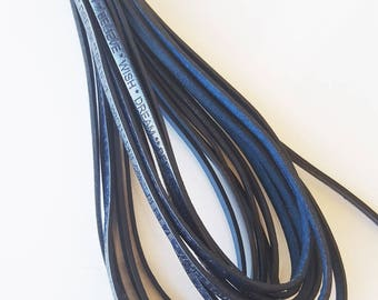 "50cm leather flat ""message"" blue 5 x 1, 5mm"