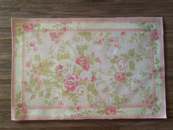 """Dollhouse Miniature Romantic Shabby Chic Rug, """"In Bloom"""", Scale One Inch or One Sixth Scale"""