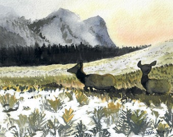 Sagebrush Foragers - 5-Pack of Blank Art Cards - watercolor Montana Wyoming Yellowstone elk deer sage sunrise snow postcard notecard fall