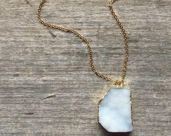 White Freeform Druzy Necklace - Freeform Druzy - White Druzy - Gift for her - Boho Chic - White Druzy Pendant - Druzy - Unique gift