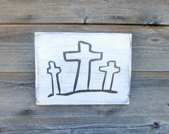 wood sign, inspirational sign, cross sign, religious home decor, primitive home decor, hand painted sign, rustic sign, sign with cross, sign