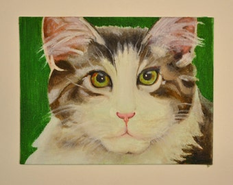 Grey and White Cat, Original Oil Painting on canvas board