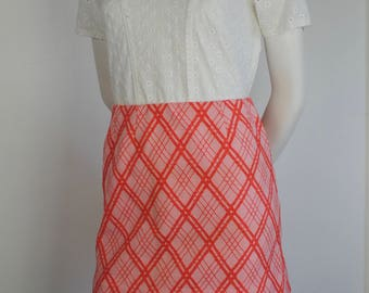 60s Mini Skirt - Vintage 1960s Striped Pink Polyester Mini Skirt