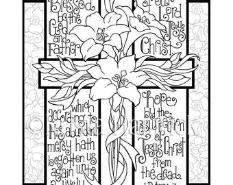 Easter Lily Cross Coloring Page In Two Sizes 85X11 Bible Journaling Tip 6X8