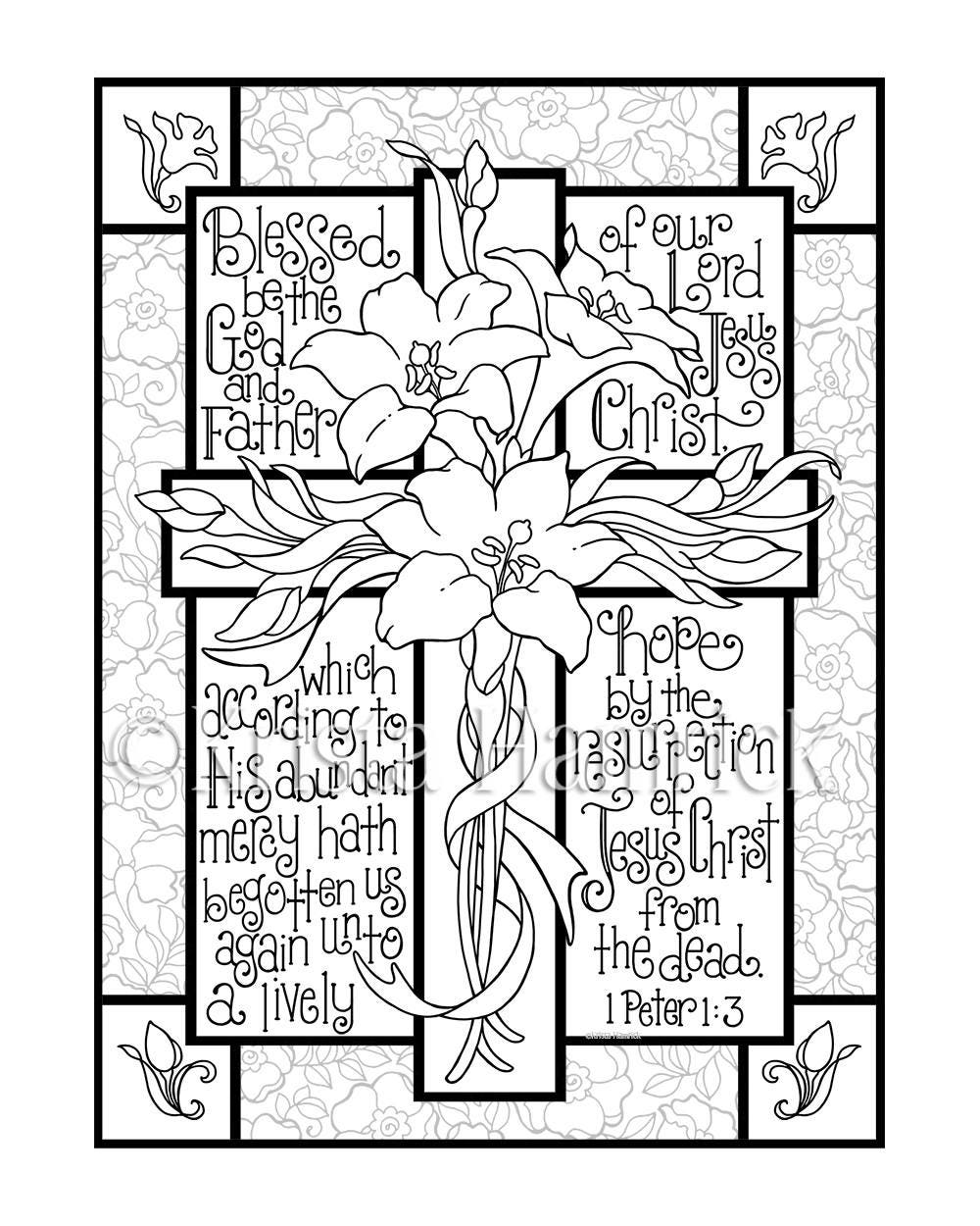 Easter Lily Cross Coloring Page In Two Sizes 85X11 Bible