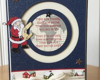 Stampin Up handmade Christmas card - Santa Claus sliding around the world