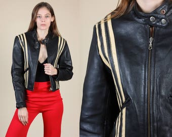 Vintage Leather Jacket // 80s Oakwood Classic Striped Moto Coat - Small