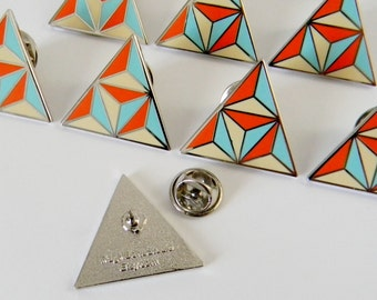 Orange and Turquoise Geometric Triangle Enamel Lapel Pin - Ready to Ship