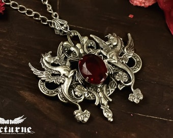Seahorse Necklace with Red Gem - Statement Necklace - Gothic Jewelry