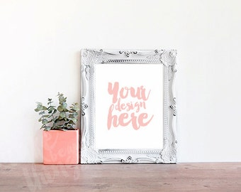8x10 white frame / Styled stock photography / Instant download / vertical frame / #1502
