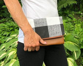 Small Plaid Foldover Leather Clutch
