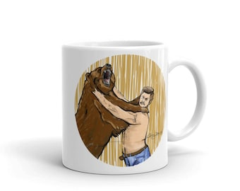 Ron Swanson Coffee Mug Parks and Recreation Rec Lover Tea Cup Ceramic Fan Art Nick Offerman Grizzly Bear Drinkware Gift for Him Gift Idea