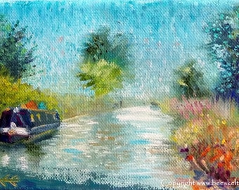 Original Landscape Painting plein air impressionist art small oil painting of Narrow Boat on the Oxford Canal