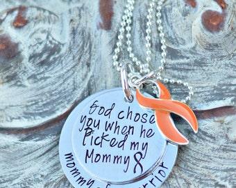 Leukemia Kidney Cancer awareness Ribbon Necklace Personalized orange Ribbon Awareness Jewelry ADHD Lupus Multiple Sclerosis Awareness