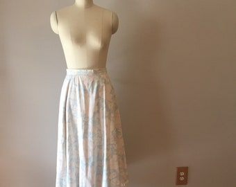 Floral Print Cotton Midi Skirt 1980s Pastel Colors Blue Pink Flowers Size Small or Medium