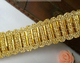 "10 yard 2.7cm 1.06"" wide gold tapes braid dancing dress lace trim ribbon 8454n free ship"